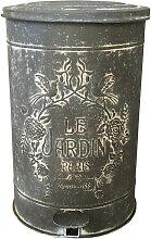 Poubelle de cuisine métal patiné zinc 40x26