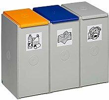 Poubelle de tri - poste 3 poubelles - pour 40 l,