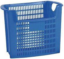poubelle en plastique bleu perforé 32l