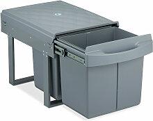 poubelle encastrable coulissante, 2 bacs, système