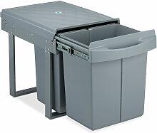 poubelle encastrable coulissante, 3 bacs, système