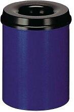 poubelle metal anti feu 30l bleue