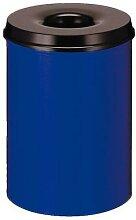 poubelle metal anti feu 50l bleue