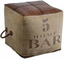 Pouf carré en coton et cuir bar