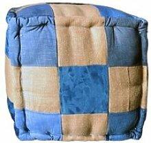 Pouf carré en patchwork de tissu jeans bleu et