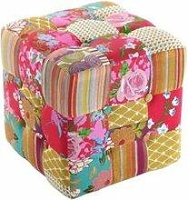 Pouf carré en tissu patchwork