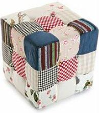 Pouf carré patchwork romantic
