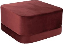 Pouf carré vintage velours rouge