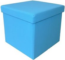 Pouf coffre pliable 2 en 1 turquoise