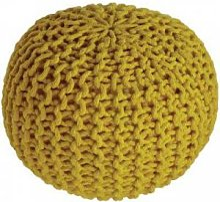 Pouf enfant tricoté Lili jaune oeuf (30 x 20 cm)