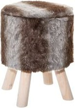 Pouf fausse fourrure marron h38 cm