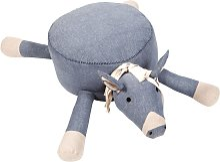 Pouf Hugo forme de cheval, coton bleu et blanc