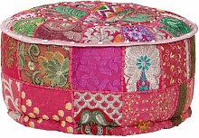 pouf rond en coton en patchwork fait à la main 40