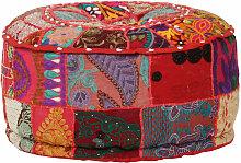 pouf rond en coton fait à la main 40 x 20 cm