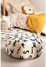 Pouf rond en coton Letters Noir Sklum