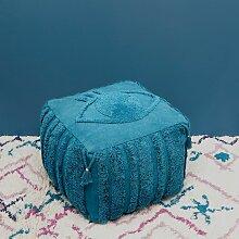 Pouf Siva Coton Bleu saphir