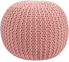 Pouf tricot rose poudré elisa ∅ 40cm