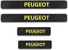 Pour Peugeot Voiture Style Seuil En Cuir Fibre De