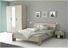 PRICY Ensemble Lit 140x190 cm + Armoire 3 portes +