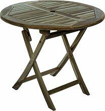 PrimeMatik - Table de jardin pliante ronde 90 cm