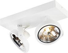 Projecteur design blanc réglable à 2 lumières