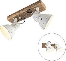 Projecteur industriel blanc à 2 lumières en bois