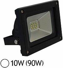Projecteur Led 10W (90W) IP65 Finition noir Blanc