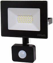 Projecteur LED 20W Noir détecteur de mouvement