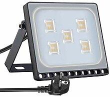 Projecteur LED Extérieur, 30W Blanc Chaud