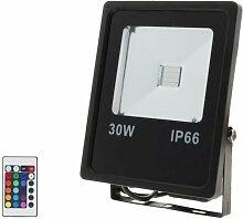 Projecteur LED RGB 30W Extérieur IP66 Plat NOIR -