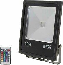 Projecteur LED RGB 50W Extérieur IP66 Plat NOIR -