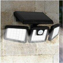 Projecteur solaire 3 têtes 70 led détecteur de