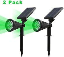 Projecteur solaire LED vert imperméable,