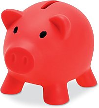 PromotionGift Tirelire Cochon en Plastique Rouge