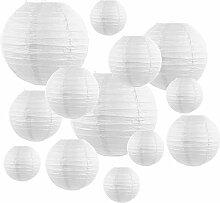 PTCOME 20pcs Lanternes en Papier Blanc Lampion