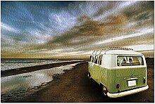 Puzzle 1000 pièces VW Van à la plage vert olive