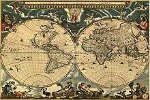 Puzzle 1500 pièces-carte du monde rétro 1500 pc