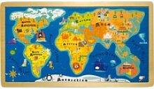 Puzzle carte du monde en bois