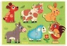 Puzzle encastrement bois duo coucou cow DJ01259