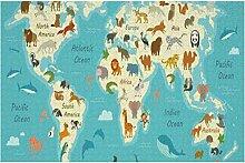 Puzzle pour carte du monde avec des animaux - -