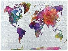 Puzzles 500 pièces,carte du monde aquarelle
