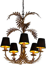 QAZQA botanica - Lustre avec abat-jour Rustique -