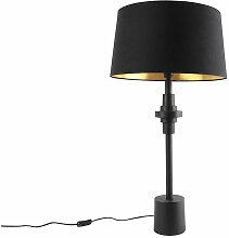 Qazqa - Lampe de table art déco noir avec