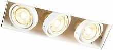 Qazqa - Spot à encastrer blanc orientable et