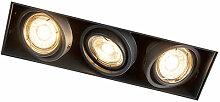 Qazqa - Spot Encastrable / Plafonnier noir rotatif