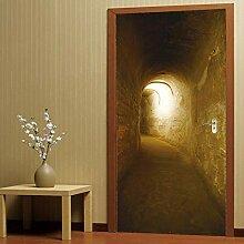 Qazwsxedc 3D Porte Autocollants Tunnel Salon