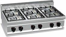 QDM Réchaud à gaz professionnel 6 feux - 31 / 33