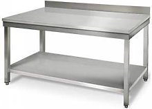 QDM Table de travail inox adossée avec étagère