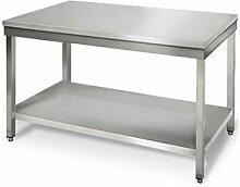 QDM Table de travail inox centrale avec étagère