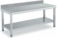 QDM Tables de travail inox adossées avec